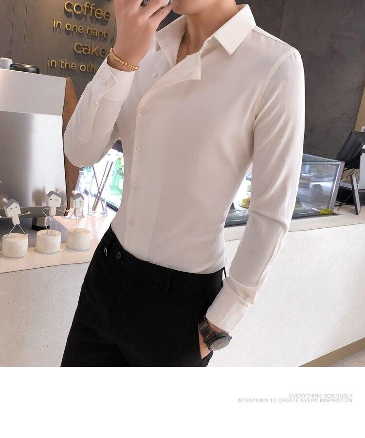 Hfdef68addd1c4ee1a726a1cc4a90c6c3C Solid Color Shirt Dress Brand New Slim Fit Men Shirt Solid Long Sleeve Shirts Men Camisa Masculina Tuxedo Clothes