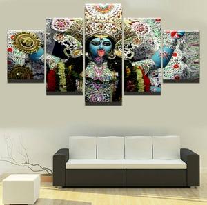 Модульная настенная художественная картина холст HD печать домашний Декор 5 шт. религиозная индийская богиня Кали картина Плакат рамка карт...