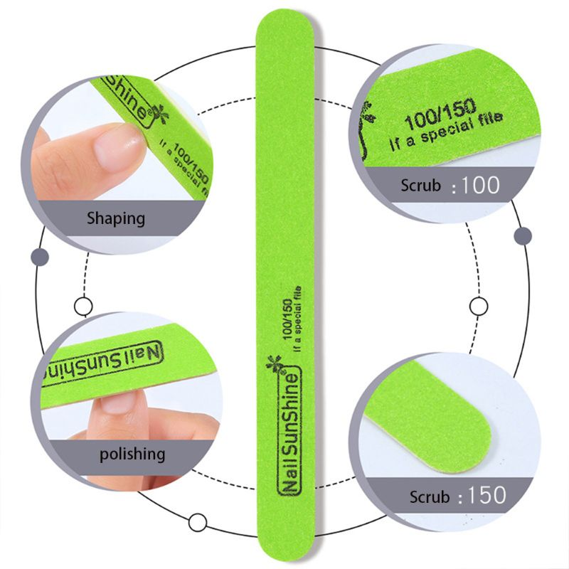 5 pièces/ensemble Ultra-mince copeaux de bois bande de frottement des ongles Double face papier de verre lime à ongles bande de polissage beauté manucure outil de polissage