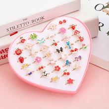 36 sztuk pudło Cute Cartoon dzieci pierścienie koreański zwierząt kwiat regulowane dziecko dziewczyny pierścienie dzieci Kawaii słodkie prezenty tanie tanio CN (pochodzenie) Ze stopu cynku Metal Śliczne Romantyczne Pierścień pokazowy Zgodna ze wszystkimi Poprawiające nastrój