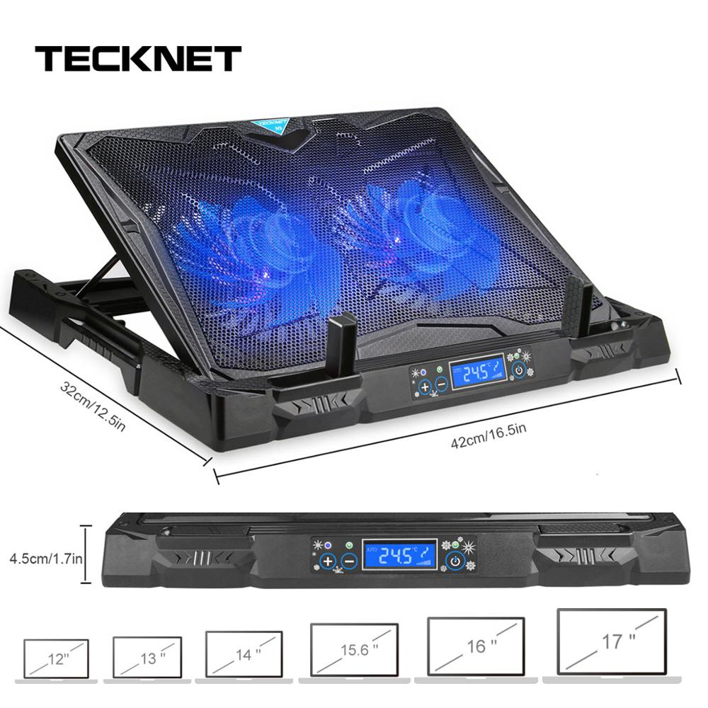 TeckNet Gaming Laptop <font><b>Cooling</b></font> Pad 2 <font><b>Fans</b></font> With LED Screen Cooler Stand Pad <font><b>Cooling</b></font> For 12-17 inch Laptop <font><b>NoteBook</b></font> MacBook Cooler image