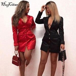 Image 1 - Hugcitar 2019 dài tay satin Mini Áo Đầm nữ thu đông chắn gió Đảng dạo phố thanh lịch trang phục
