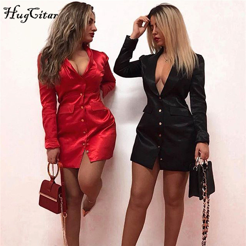 Hugcitar 2019 Long Sleeve Satin Mini Blazer Dress Autumn Winter Women Windbreak Party Streetwear Elegant Outfits
