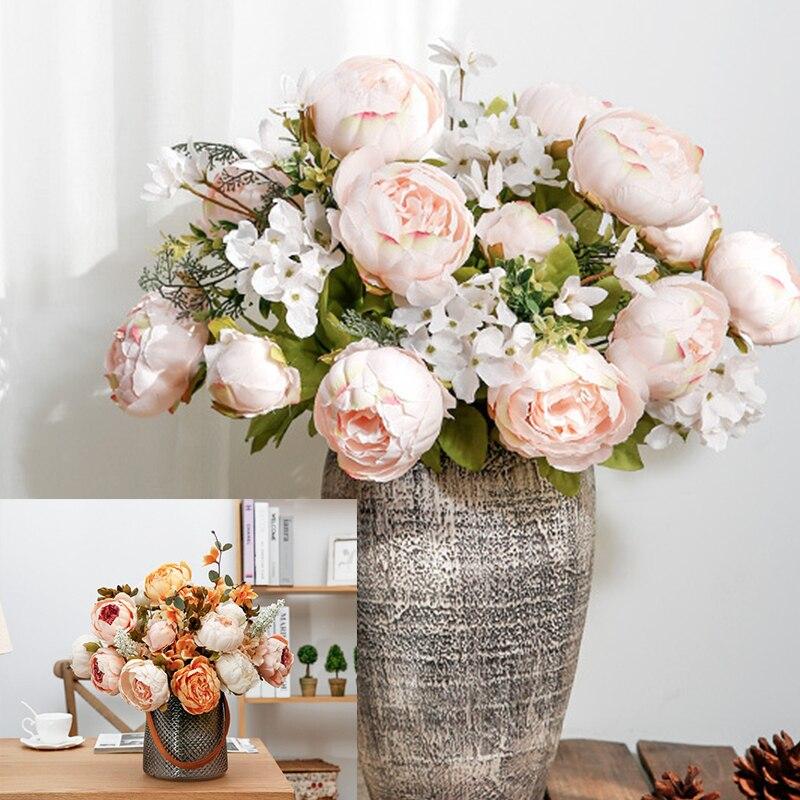 Искусственные пионы, 1 букет с 13 головками, искусственные шелковые цветы на вечеринку, пионы для домашнего декора отеля, сделай сам, свадебно...