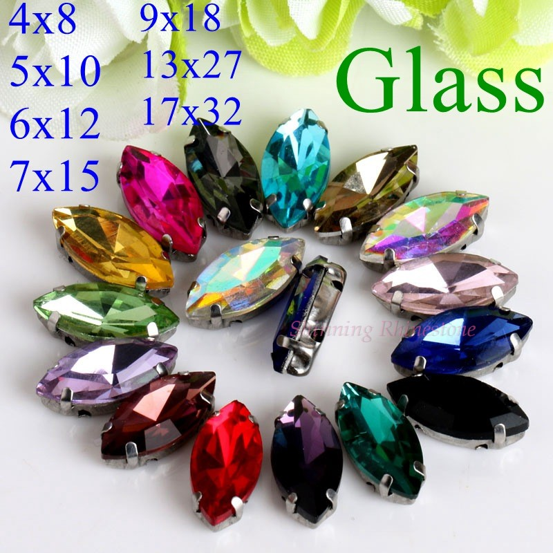 Horse Eye / Leaf Shape Glass Rhinestones With Claw Sew On Crystal Stone Strass Diamond Metal Base Buckle For Clothes