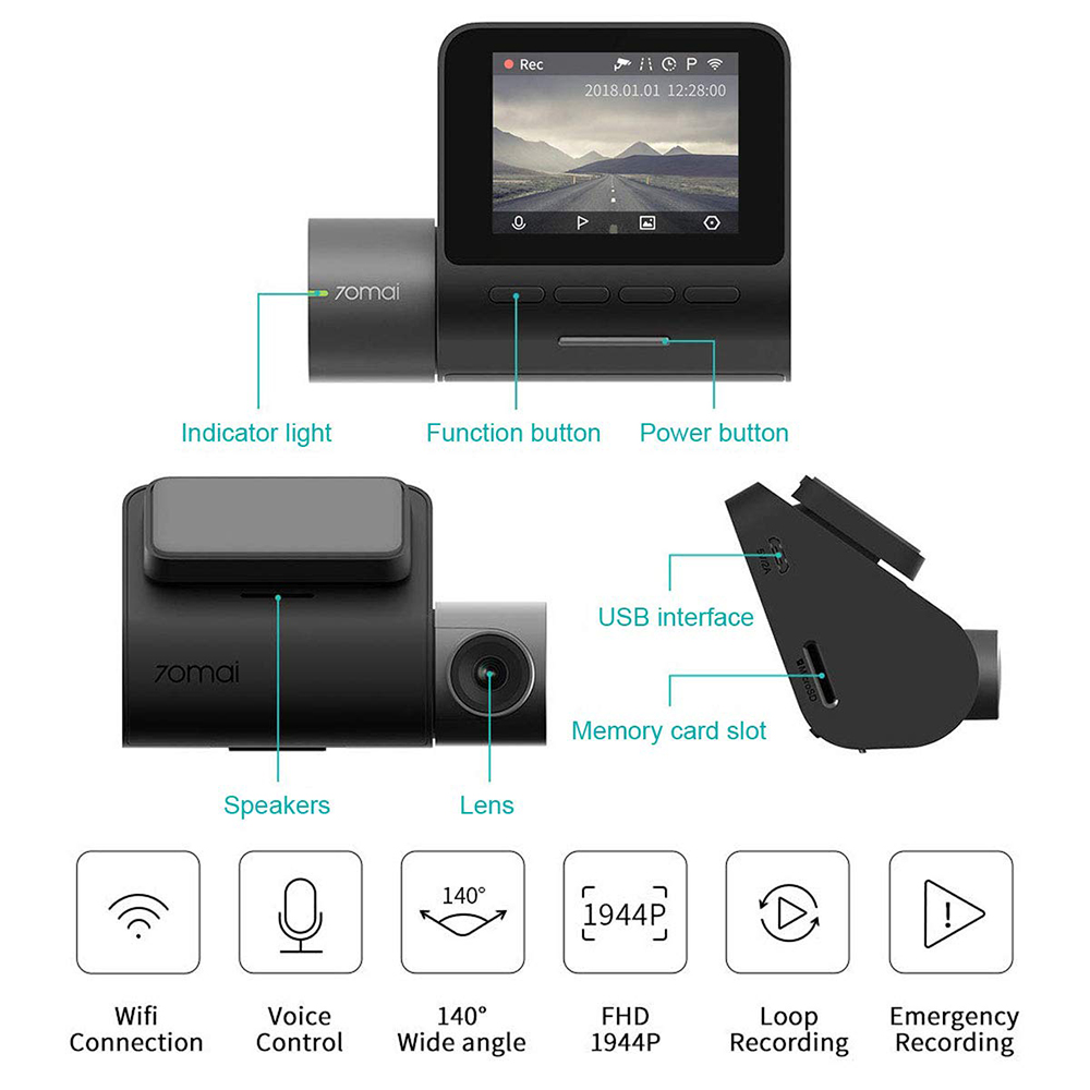 Xiaomi 70ai Pro Dash Cam Full HD 1944P cámara de coche grabadora GPS ADAS 70 AI Wifi Dvr coche 24H Monitor de aparcamiento 140FOV visión nocturna - 3