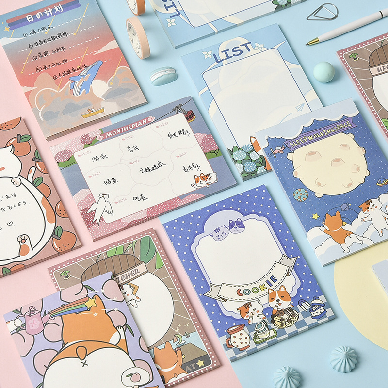 Mohamm 50 pièces mignon dessin animé décoration papier Notes autocollantes créatif Scrapbooking papeterie fournitures scolaires