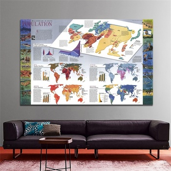 Classic Edition World Population (1998) Maps 5*3feet World Map  Wall Sticker Non-woven Painting for Culture Decor Supplies world in maps
