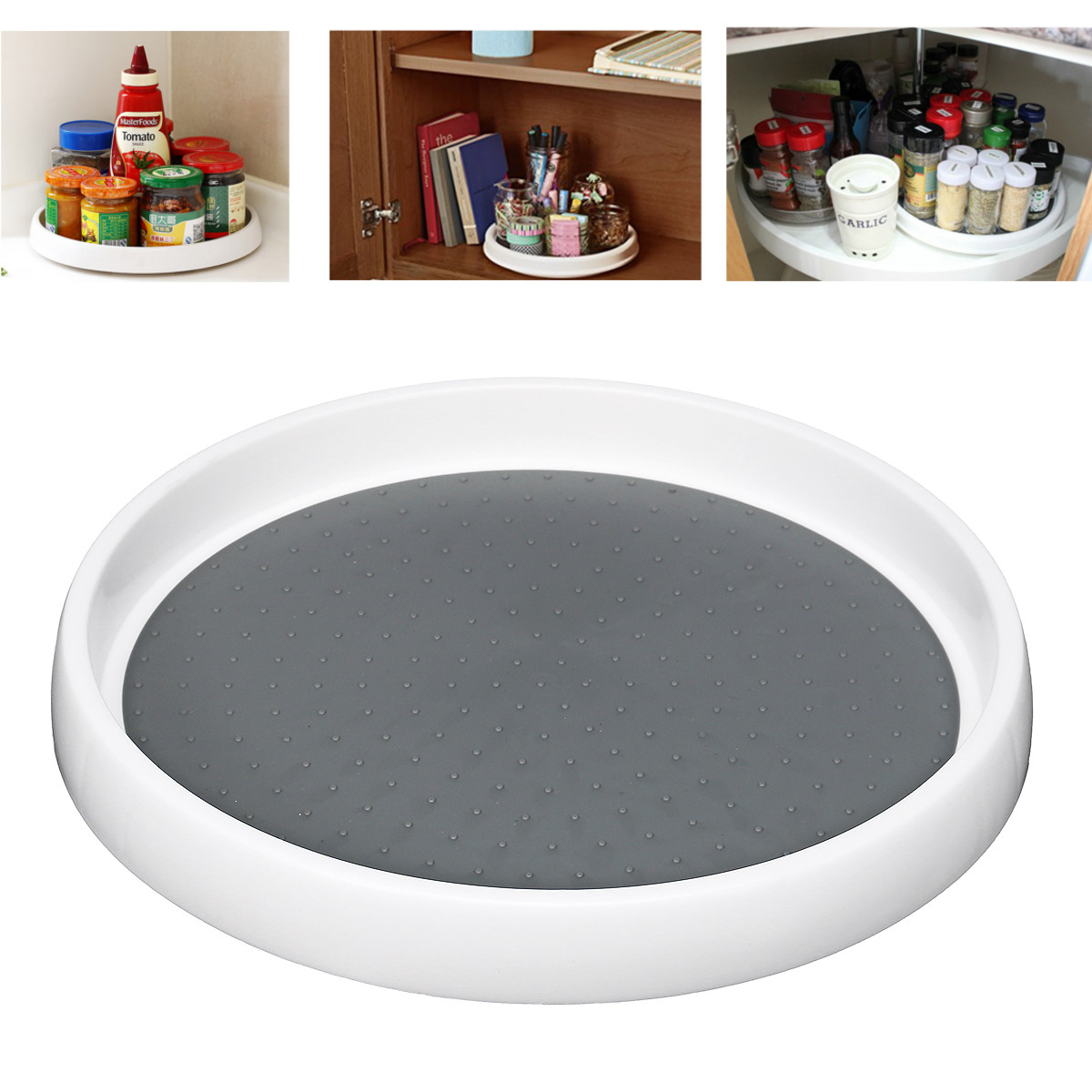 Rotatable Desktop Kitchen Storage Organizer Round Cabinet Spice Seasoning Bottle Holder Rack Jar Shelf Cosmetics Makeup Tray