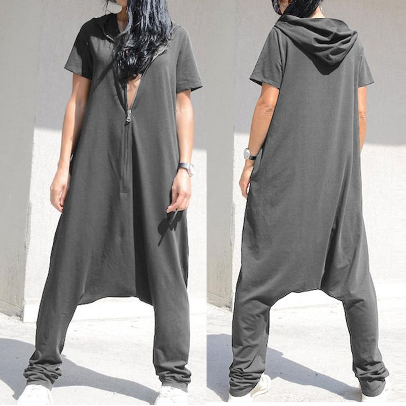 Celmia Plus Size Jumpsuits Women Short Sleeve Overalls 2020 Fashion Hoodie Loose Harem Pants Solid Casual Zipper Pantalon Femme