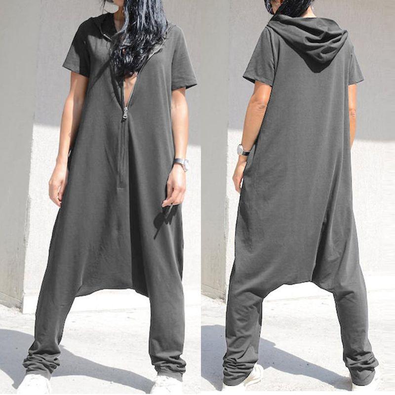 Celmia Plus Size   Jumpsuits   Women Short Sleeve Overalls 2020 Fashion Hoodie Loose Harem Pants Solid Casual Zipper Pantalon Femme