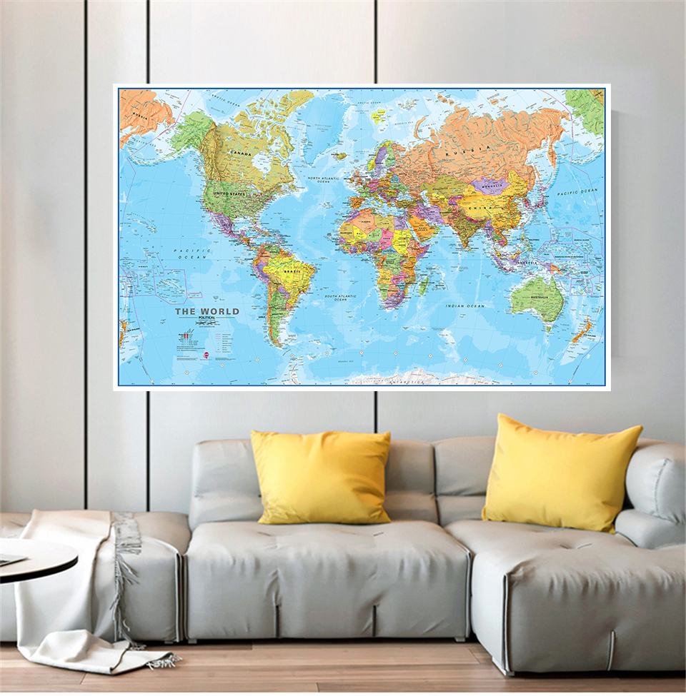 The World Political Map 5 Sizes Wall Posters Canvas Paintings Living Room Home Decoration Children School Supplies