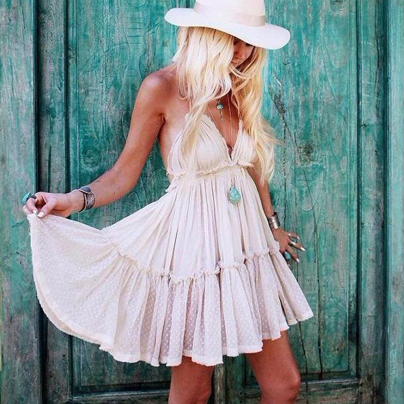 VERGOODR Strapless Women Summer Solid Boho Dress Backless Sexy Mini Dresses Girls Bohemian Aline Plus Size Beach Dress Vestidos