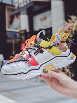 Women Platform Chunky Sneakers 5cm high lace-up Casual Vulcanize Shoes luxury Designer Old Dad female fashion Sneakers fashion women men laser bling dad running sneakers female casual shoes male flat platform women sneakers round toe feminino