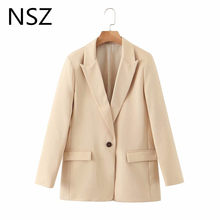 NSZ women elegant office ladis blazer chic work suit jacket one buttons long sleeve business coat fashion outwear 2020(China)