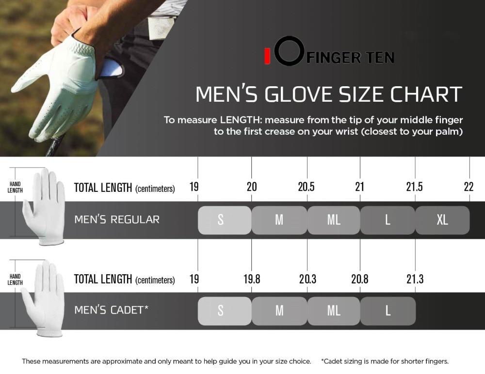 男士手套尺寸表