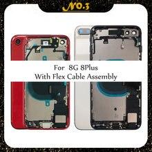 Carcaça traseira completa para o iphone 8 8g 8plus oriente quadro chassis porta da bateria capa traseira corpo com cabo flexível peças montagem