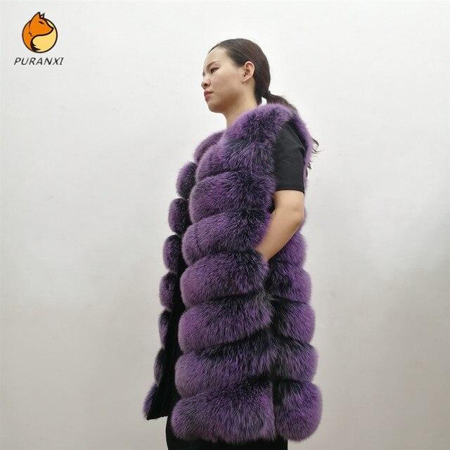Женский жилет из натурального лисьего меха, толстый теплый длинный жилет без рукавов, роскошная модель на зиму, 2019