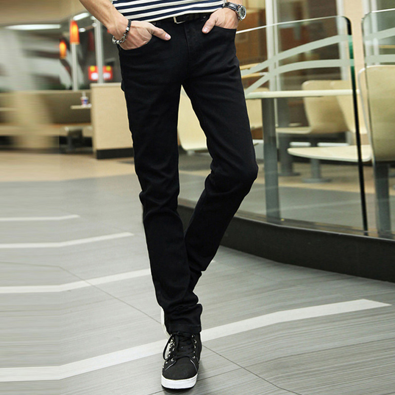 Elasticity Man Jeans Male Leisure Black Tide Black Bound Feet Pants Soild Color Zipper Fly Slim Fit Joggers