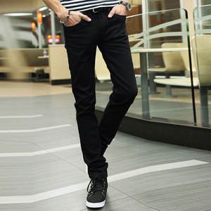 Man Jeans Feet-Pants Joggers Slim-Fit Elasticity Black Zipper Male Tide Bound Fly Leisure