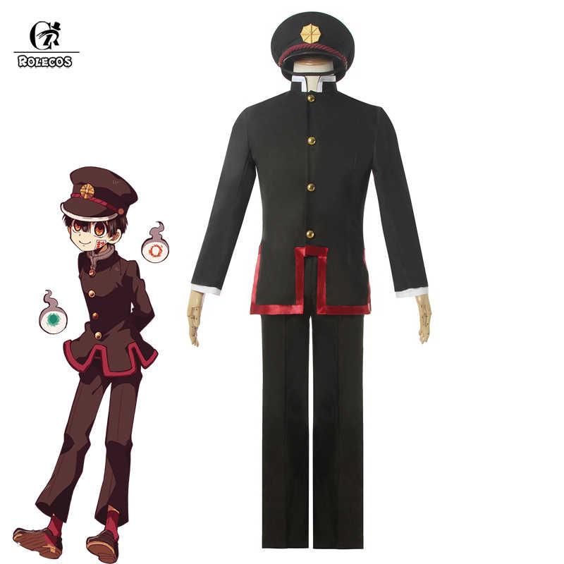 ROLECOS Anime tuvalet bağlı Hanako-kun Cosplay kostüm Jibaku Shounen Hanako-kun erkek okul üniforması şapka tam Set cadılar bayramı