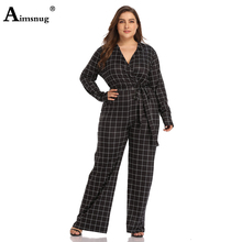 Aimsnug Large size L-3xl Print Plaid Black Deep V Neck Long Sleeve Lace Up 2019 Autumn Office Lady Women Wide leg Jumpsuits