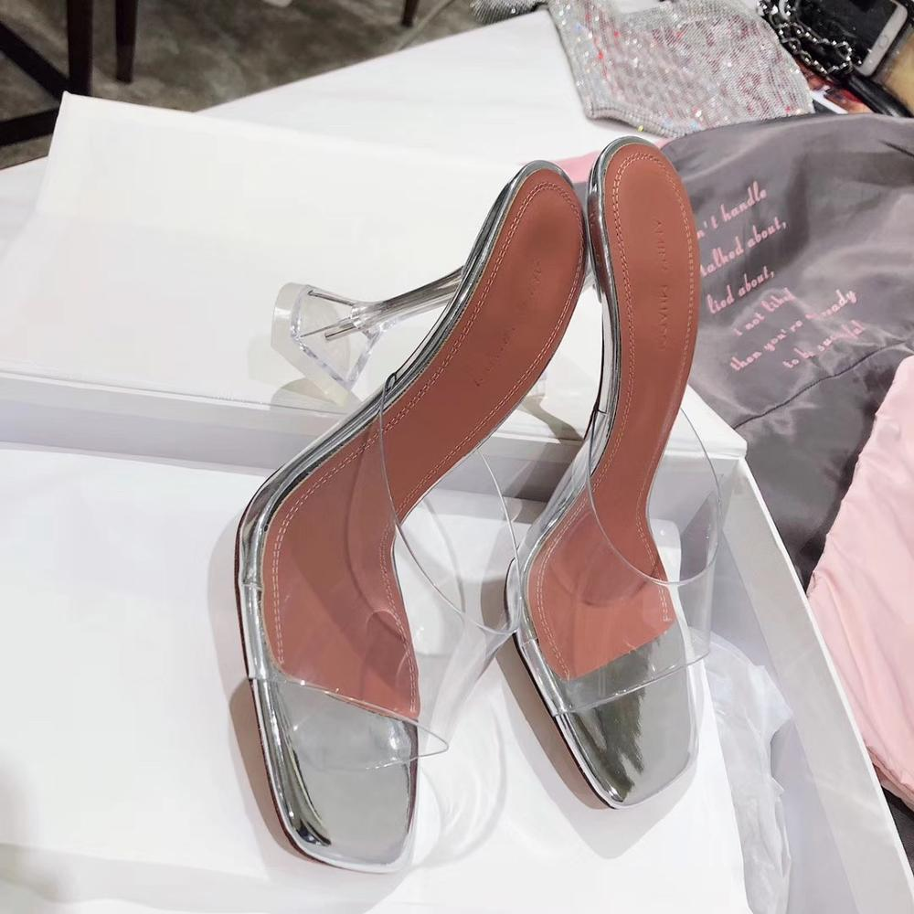 Silver PVC Jelly Slippers Sandals Open Toe Perspex High Heels Women Transparent Crystal Heel Sandals Slippers 7CM Pumps Size 42