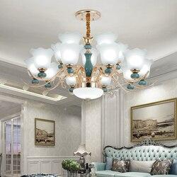 Nowoczesne żyrandole ceramiczne oświetlenie złoty żyrandol Led do salonu sypialnia lampa do jadalni oprawy sufitowe kroonluchtera