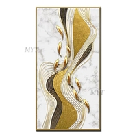 Beautiful Golden Feathers Abstract Oil Painting On Canvas For Living Room Hom Decor Pictures Wall Art Paintings No Framed