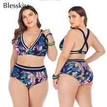 Blesskiss حجم كبير ارتفاع الخصر بيكيني 2019 النساء ملابس السباحة حجم كبير مطبوعة الرسن ثوب السباحة لباس سباحة للنساء السباحة