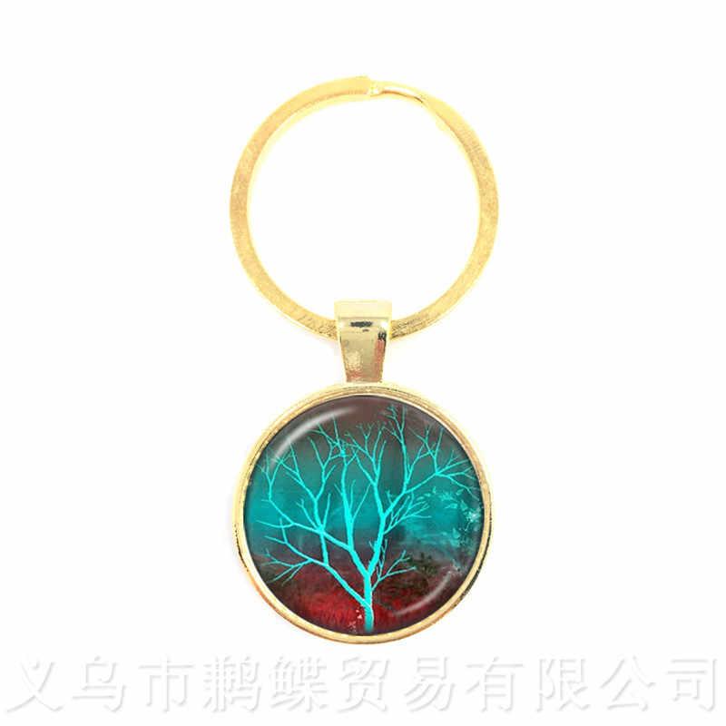 עץ של חיים טרנדי מחזיקי מפתחות זמן זכוכית כיפת תכשיטי תליון Keyring זכוכית קישוטי מתנה לחברים