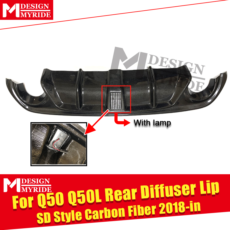 Fits For Infiniti Q50 LCI Q50S Rear diffuser Add on Carbon fiber Gloss Black With LED brake light Rear Bumper lip diffuser 18 in in Bumpers from Automobiles Motorcycles