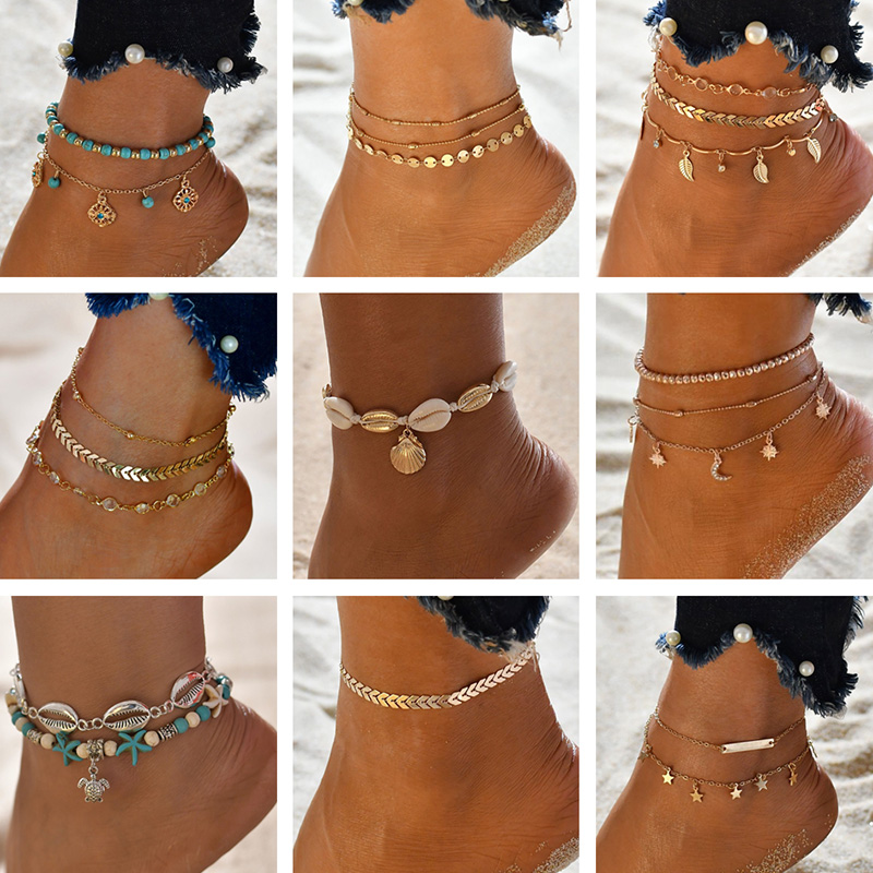 Barefoot Sandals Anklets Metal-Shell Coconut-Tree Female Gold Double-Layers Summer title=