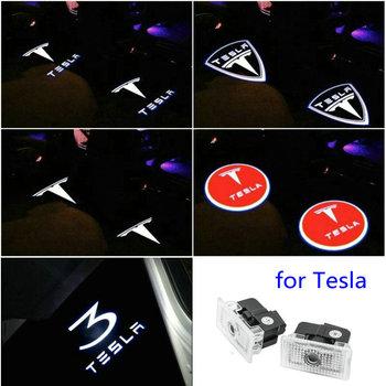 2 sztuk dla Tesla Model S Tesla Model 3 X Y Led samochodów drzwiowe światło wejściowe projektor do logo lampa laserowa cień duch oświetlenie drzwi akcesoria tanie i dobre opinie silanka Witamy Światło