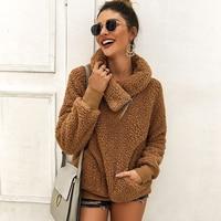 Fleece Truien Voor Vrouwen Solid Casual Herfst Turn Down Kraag Sweatshirts Winter Losse Rits Pocket Teddy Warme Trui Tops