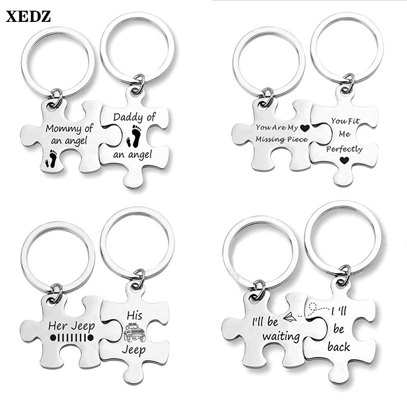 2 pieces / set puzzle metal keychain footprint love car airplane couple family door lock car key accessories best gift for lover image