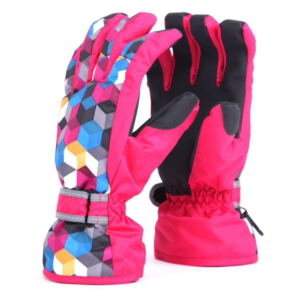Winter Outdoor Ski Gloves Warm Cold Refers Panel Monochrome Waterproof Gloves