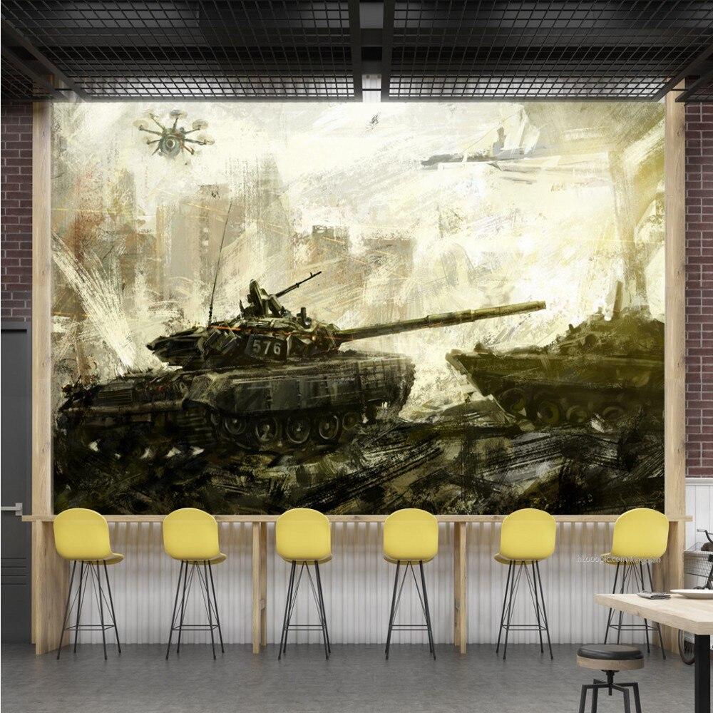 Envío directo personalizado papel pintado Mural Retro tanque escena de guerra acuarela noche Bar KTV fondo de pared pintura decorativa