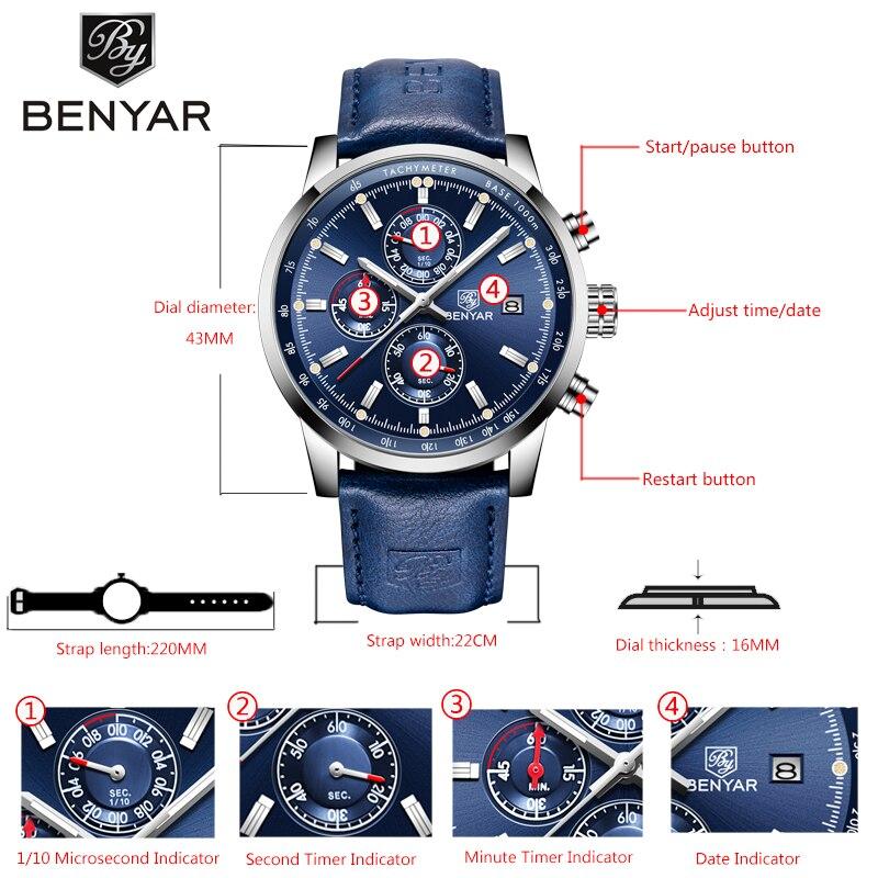Image 2 - BENYAR 新しい腕時計メンズミリタリー高級トップブランドクォーツビジネスメンズ腕時計ファッションクロノグラフ革時計レロジオ Masculino    グループ上の 腕時計 からの クォーツ時計 の中