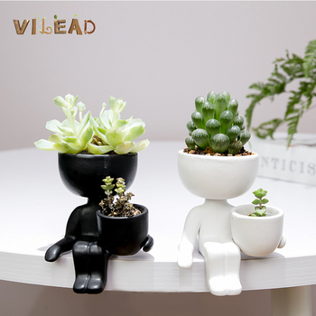 VILEAD 2 Styles Ceramic Human Flower Pot Creative Cactus Succulent Plant Flowerpot Crafts Vase Home Decoration Personality Gift 1