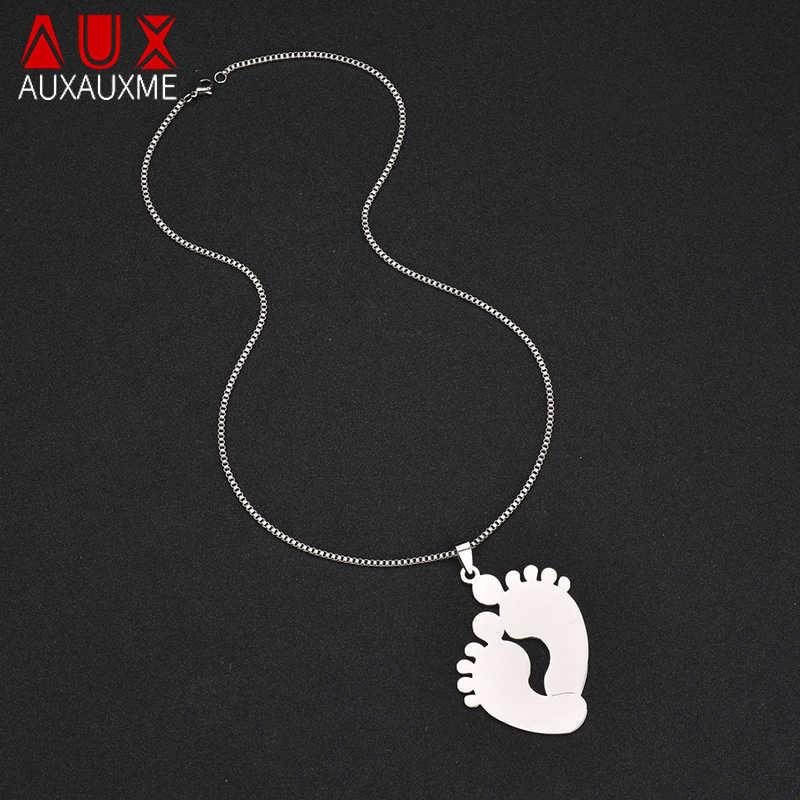 Auxauxme из нержавеющей стали индивидуальные милые детские ноги ожерелье выгравированное имя Дата ID Ожерелье для мамы ребенок день рождения Ювелирные изделия Подарки