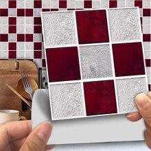 Funlife®Красно серая мозаичная настенная наклейка декоративная