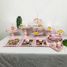 3 pcs 10 pcs ורוד cupcake מראה מגש קישוט עם קריסטל Cupcake מתלה עוגת Stand מחזיק