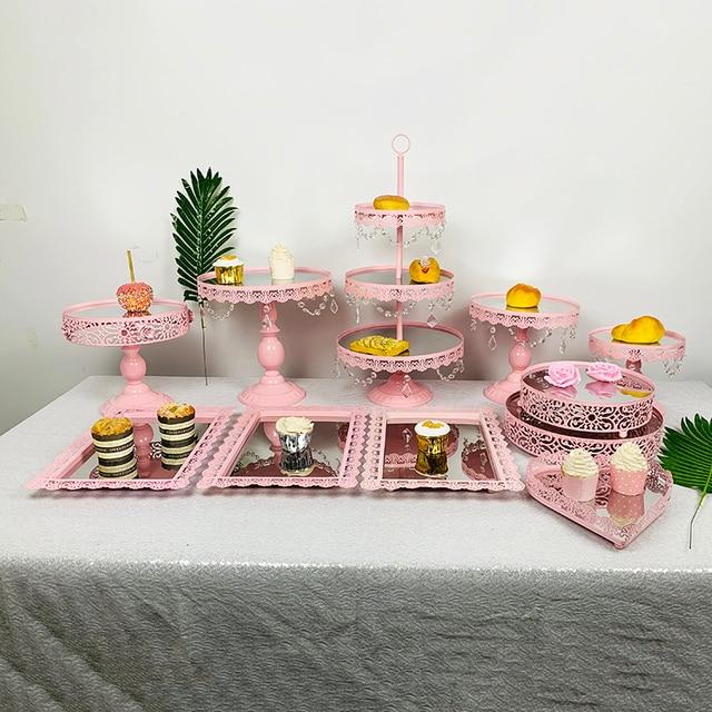 3pcs 10pcs Pink cupcake mirror tray Decoration With Crystal Cupcake Rack Cake Stand Holder