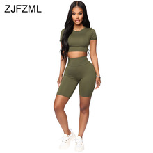 цена на Solid Sportswear 2 Piece Set Womens Clothing Round Neck Short Sleeve Back Cross Lace Up Crop Top and Bodycon Shorts Club Outfits