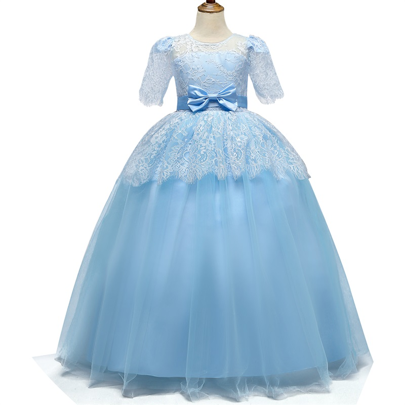 6-14 Years Kids Dresses For Girls Wedding Tulle Lace Long Girl Dress Princess Party Bridesmaids Formal Gown For Teen Girls 6 14Y