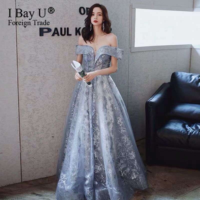 In Stock Luxury Evening Dresses Romantic Light Blue Glitter Lace Floor-length Prom Formal Gowns Vestido De Noche Fast Shipping