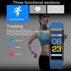 Image 5 - Horloge rastreador de ejercicios inteligente, dispositivo deportivo con control remoto, compatible con android e ios, 115 Plus, Gezondheid, Hartslag, Bloeddruk