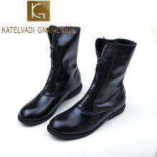 KATELVADI Autumn and Winter Ankle Boots Black PU Fashion Thick Heels Female Front Zipper Womens Size  K-475