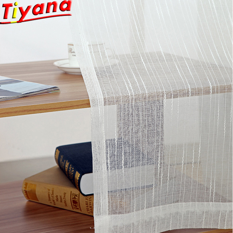 Meteor White Sheer Tulle Curtain for Living Room Panel Window Treatment Stripe Linen Curtains for Bedroom Voile WP039#30